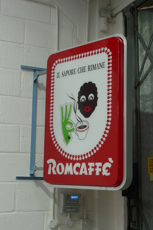 Café coffee illuminated sign 'Romcaffe'